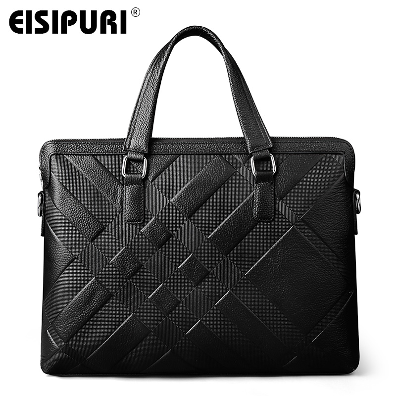 EISIPUR NEW MEN Best quality genuine real cow leather messenger bags luxury business men's briefcases bag black leather handbags new p kuone famous brands briefcases men luxury genuine cow leather 13 inch laptop bag high quality handbags business travel bag