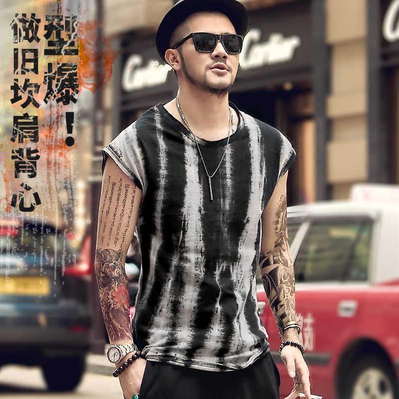 Yaz yeni erkek kolsuz T-shirt marka Retro siyah Kravat boya geniş omuz yelek rahat erkek gevşek fanila sokak tarzı t4177