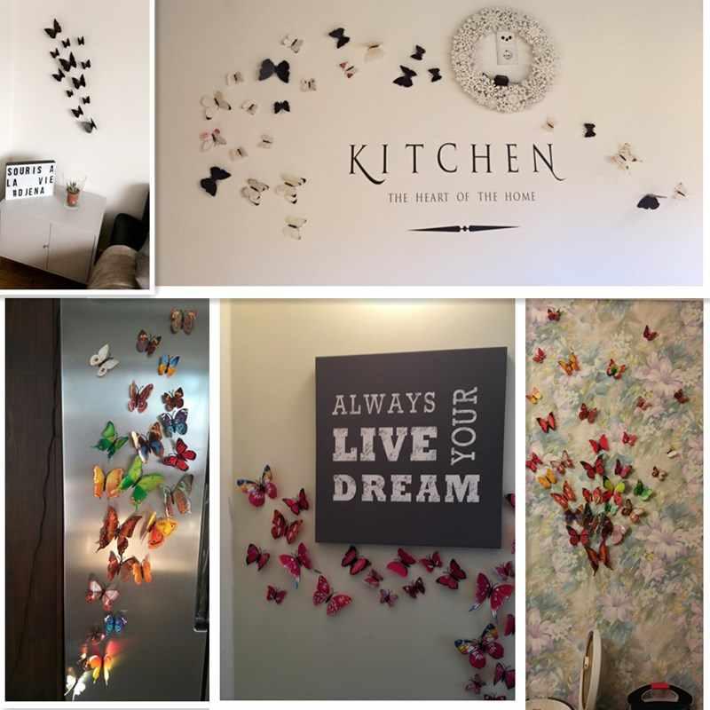 Pegatinas de pared de mariposa 3D pegatina de decoración del hogar en el Mural de la pared del arte para electrodomésticos vintage 12 habitaciones para niños unids/bolsa