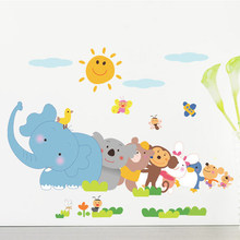 Happy animals Elephant Monkey wall sticker for kids room bedroom home decor DIY art background decals cute Cartoon Zoo stickers(China)