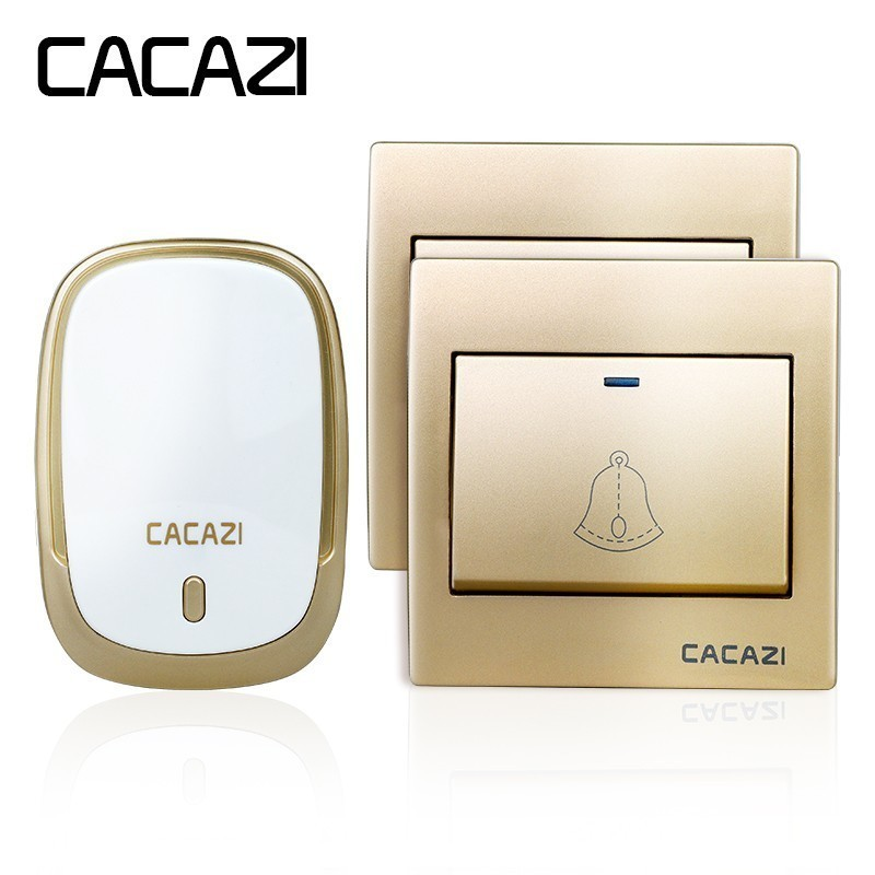 CACAZI AC110-220V wireless doorbell waterproof 2 buttons+1 plug-in receiver 300M remote door bell 36 melody 4 volume door ring
