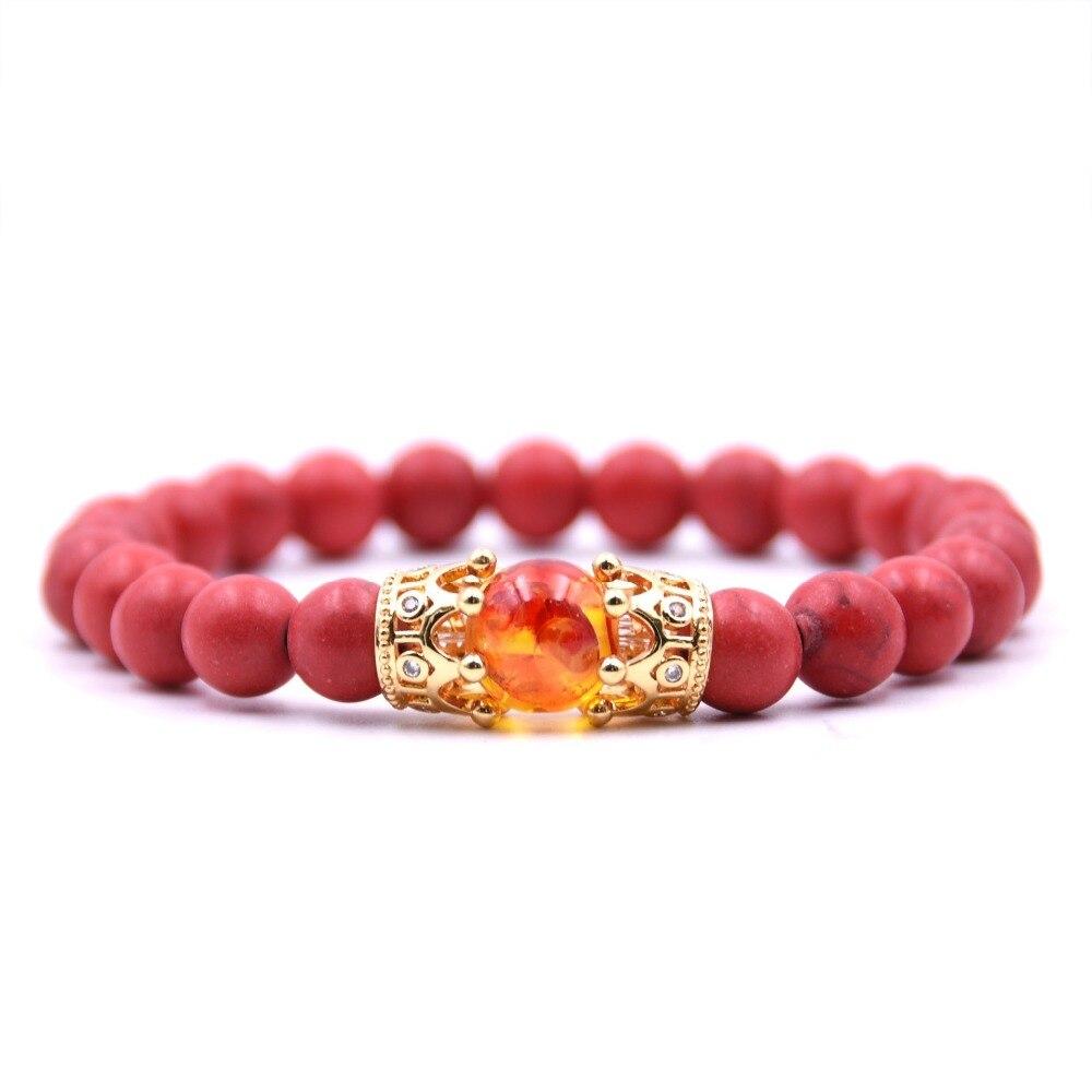 Natural Green Pine Beads Strand Bracelet Men Silver Crown Bracelet Micro Pave CZ Beads For Women Energy Handmade Jewelry