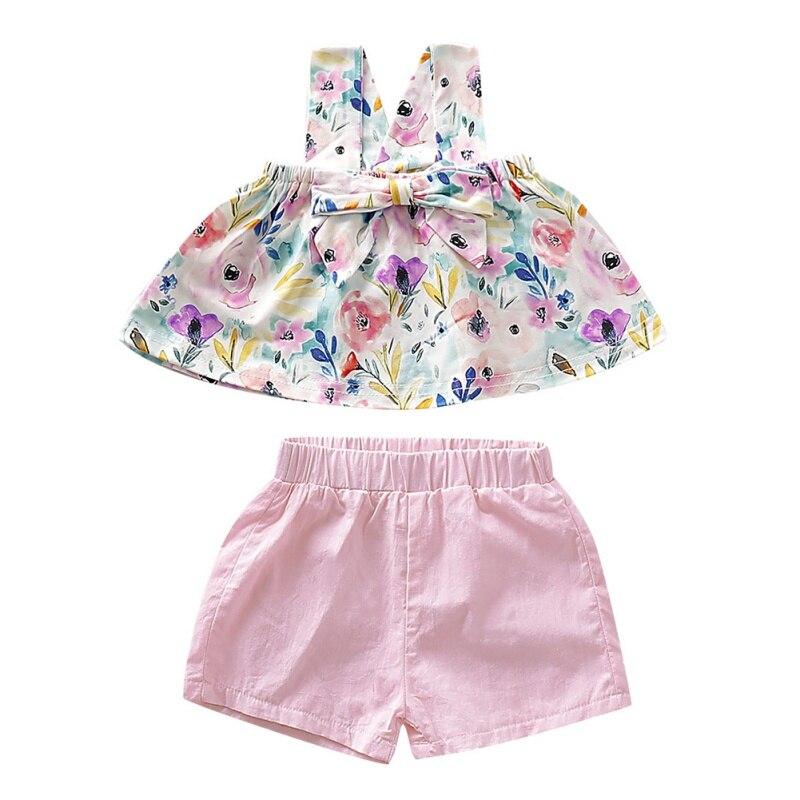 Style européen et américain 0-24 M été bébé filles décontracté sans manches sangle imprimé Floral t-shirts hauts + Shorts costumes ensemble de Costume