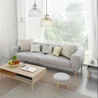 Nordic Small Apartment Leather Sofa Cowhide Solid Wood Leather Sofa Combination Three Seats Fashion Korean Leather