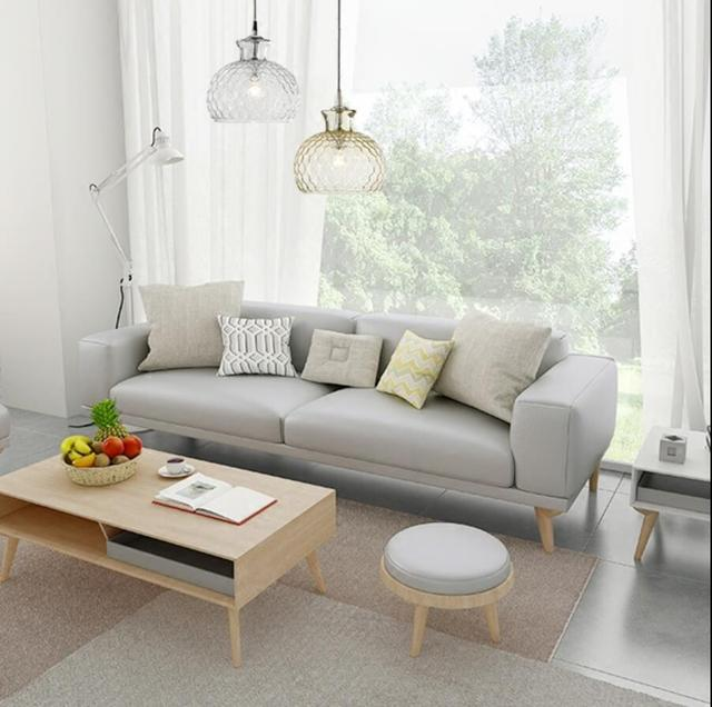 Nordic small apartment leather sofa cowhide solid wood leather sofa ...