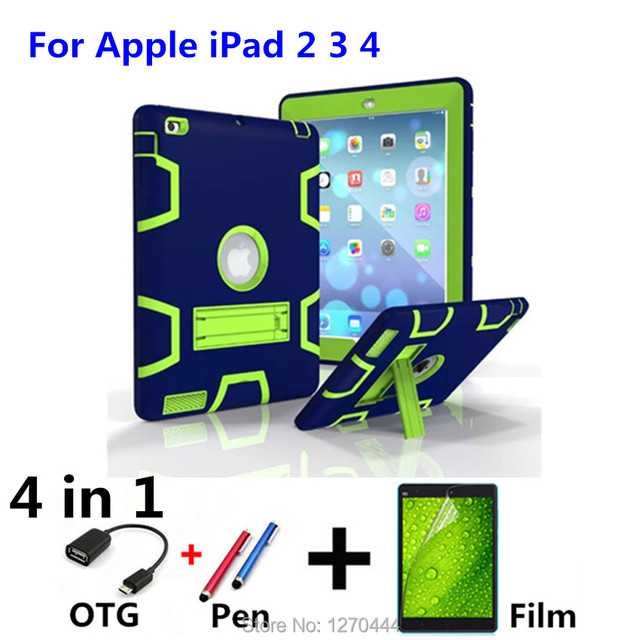 New Retina Kids Baby Safe Armor Shockproof Heavy Duty Silicone Hard Case Cover For IPAD2 IPAD3 IPAD4 9.7 Tablet PC+Film+Pen+OTG