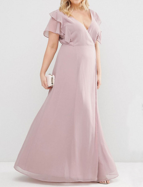 Sexy V-neck Chiffon Ruffled Blush Pink Bridesmaid Dresses Plus Size Vestidos Plus Size De Festa Wedding Party Dress QQ-84