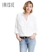 IRISIE Apparel Branca Doce Único Breasted Ocasional Magro Blusa Mulheres Camisa Preta Blusa Chique Verde Breve Básico Camisa Top Feminino