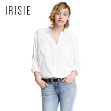 IRISIE Apparel White Casual Slim Women Blouse Shirt Black Sweet Single Breasted Chic Blouse Green Brief Basic Female Shirt Top
