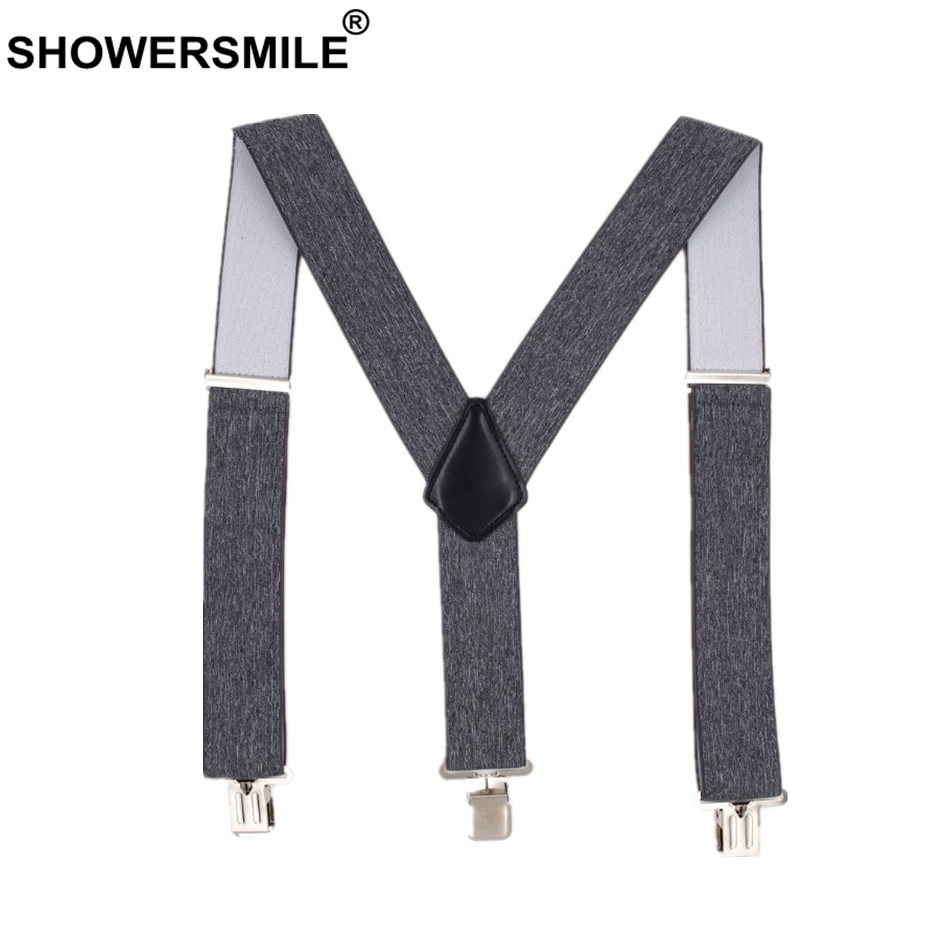 SHOWERSMILE Male Adult Suspenders Gray Wide 5cm Mens Braces For Trousers 3 Clips Elastic Brand Man Pants Accessory 120cm