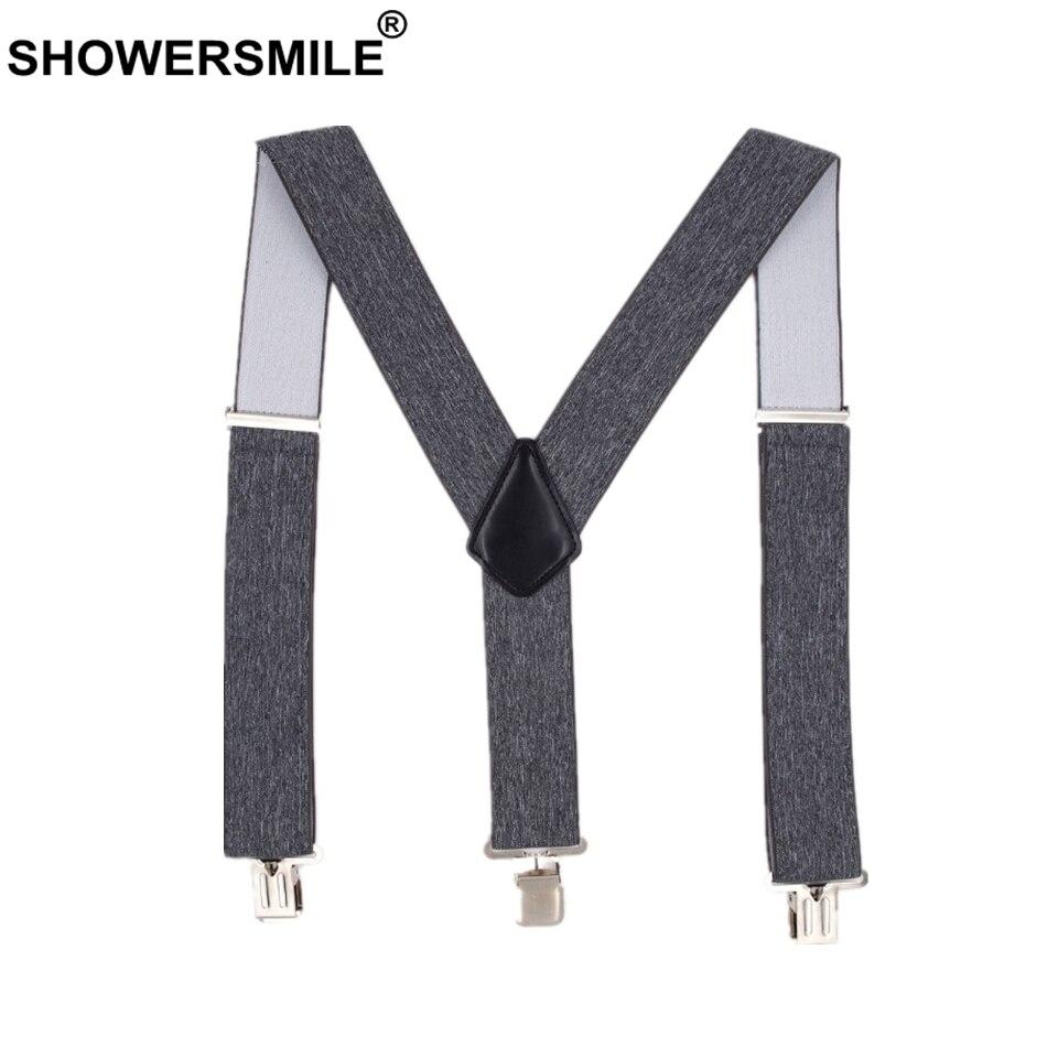 SHOWERSMILE Male Adult Suspenders Gray Wide 5cm Mens Braces For Trousers 4 Clips Elastic Brand Man Pants Accessory 120cm