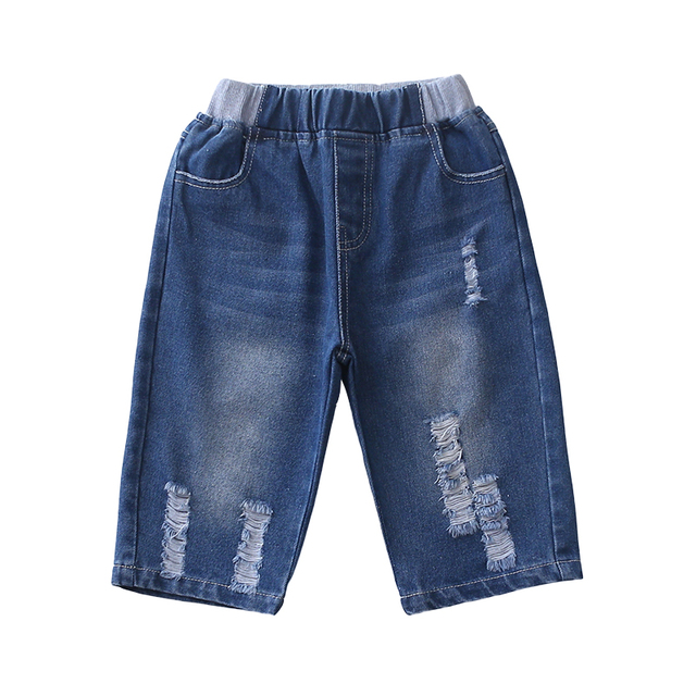 4-13 years old height 110-160 cm boys shorts Jeans cropped trousers Washed hole shorts 50% long pants cotton summer hot gift