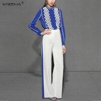 Wreeima/2019 весенние женские костюмы Модная рубашка с длинными рукавами офисная синяя блузка Топ + молния, широкие брюки, костюм комплект из двух