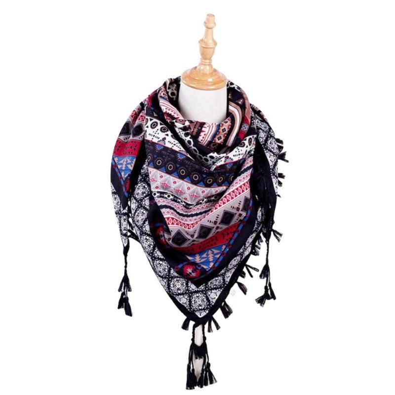 Bohemia Ethnic Women   Scarf   Square   Scarves     Wraps   Autumn Winter Female Tassel Printed Girl Shawls   Scarf   Blanket New