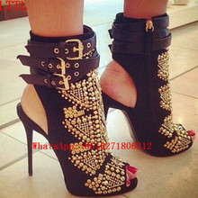 Cruel Summer Black Suede Embellished Bootie Sandals Peep Toe Buckle Strap Stiletto Gladiator Heels Rivet Gold Studs Ankle Boots