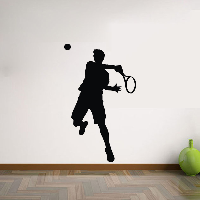 Tennis Sport Player Wall Stickers PVC Self Adhesive Removable Home Decor Wall Decals Creative Decoration