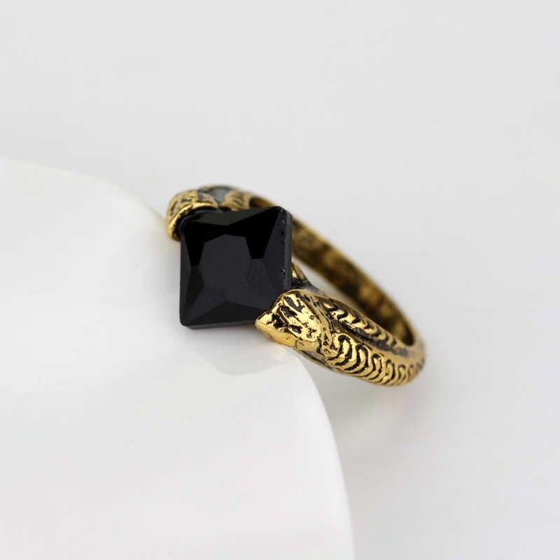 Dongsheng H P Lord Voldemort Horcrux reliques de mort pour les bagues féminines bague de gemme noire et jaune rétro doigt de cristal Ring25
