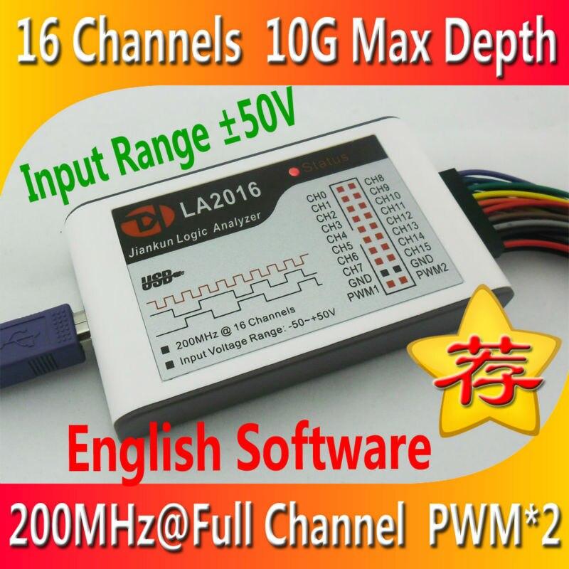 LA2016 USB Analyseur Logique 200 M Taux D'échantillonnage MAX 16 Canaux 10B Échantillons MCU BRAS FPGA Outil de Débogage Anglais logiciel