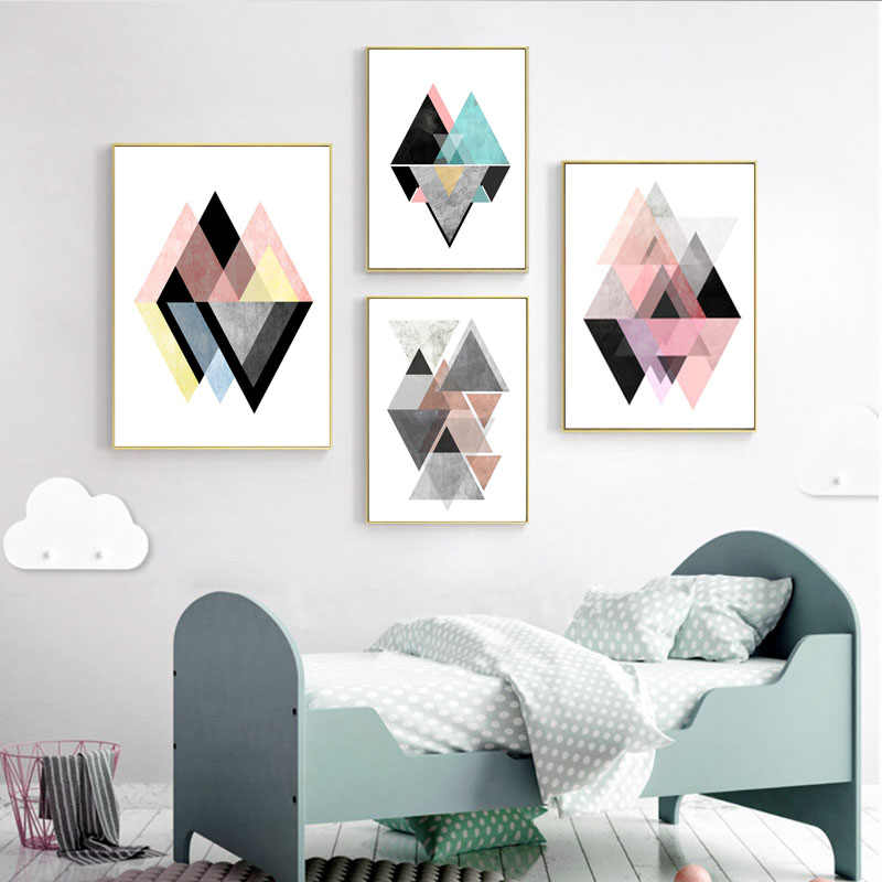 Modern Triptych Wall Poster Pink Geometric Canvas Art Scandinavian Abstract Posters and Prints Pictures for Living Room Decor