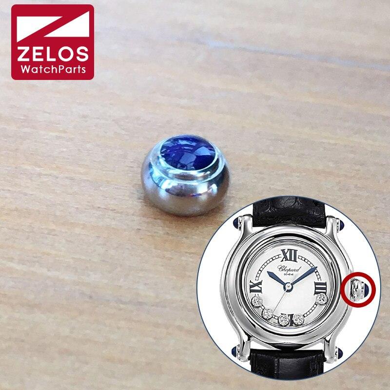 Coroa de Diamantes Relógio de Quartzo Azul Safira Cristal Chopard Feliz Aço