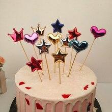 5 шт./лот, милая Корона, звезда, топпер для торта на день рождения, милый торт, флаг, детский душ для девочек, Diy украшения для торта для вечеринки, аксессуары
