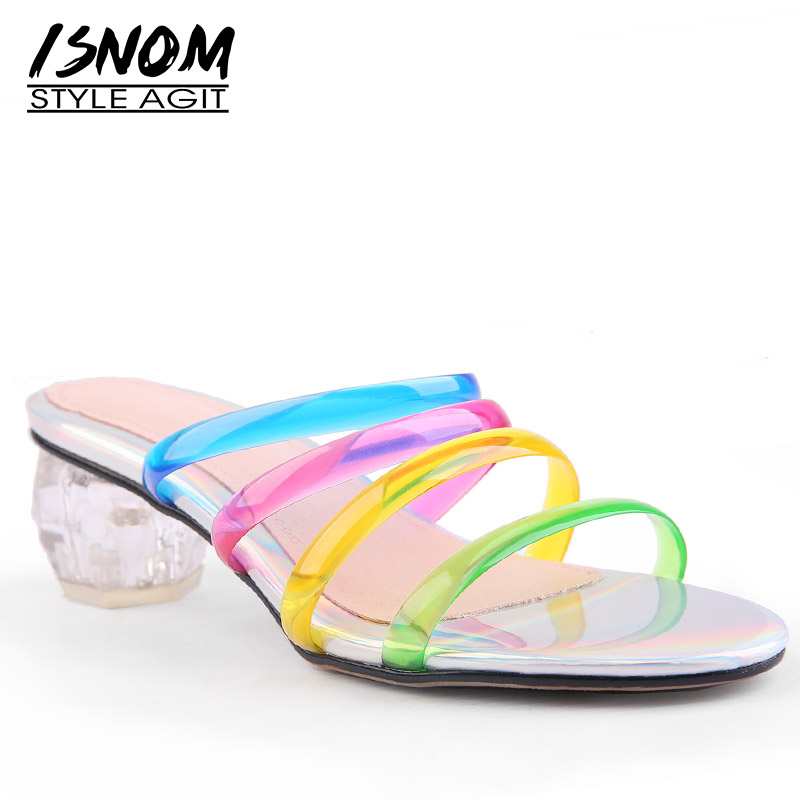 ISNOM Transparent Pvc Slippers Woman 2019 New Women Slides Colorful Rivet Mules Shoes Female Studded Crystal
