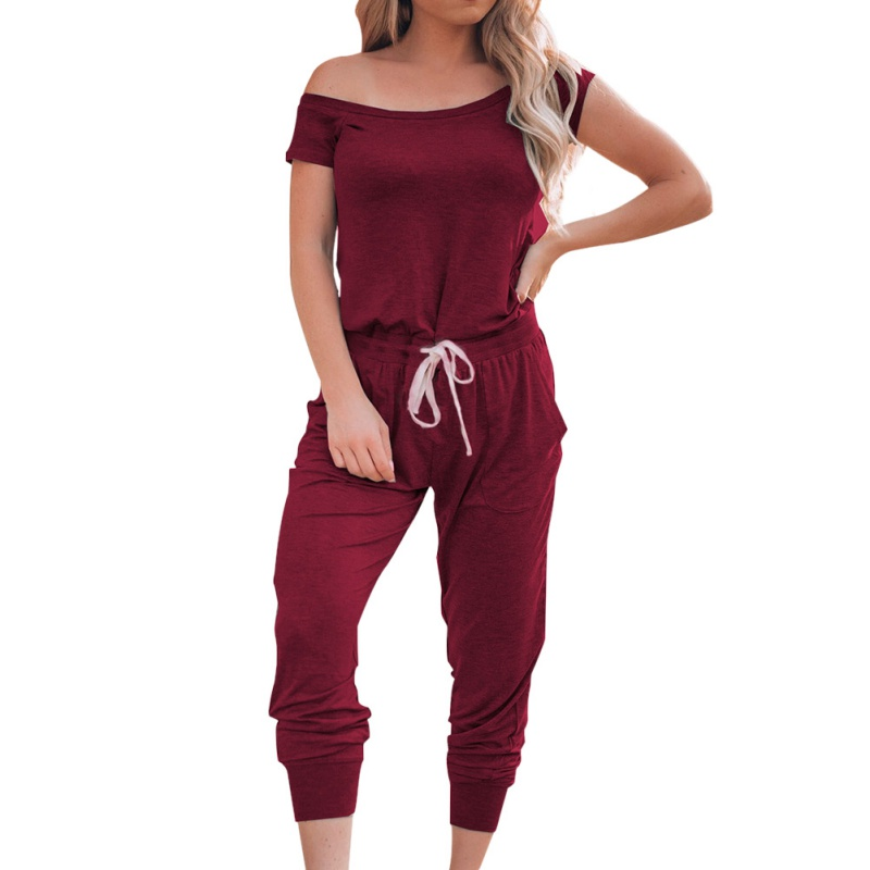 Women's Casual Pockets   Jumpsuits   Fashion High Tops Crewneck Off Shoulder Short Sleeve Elastic Waist Romper Playsuits