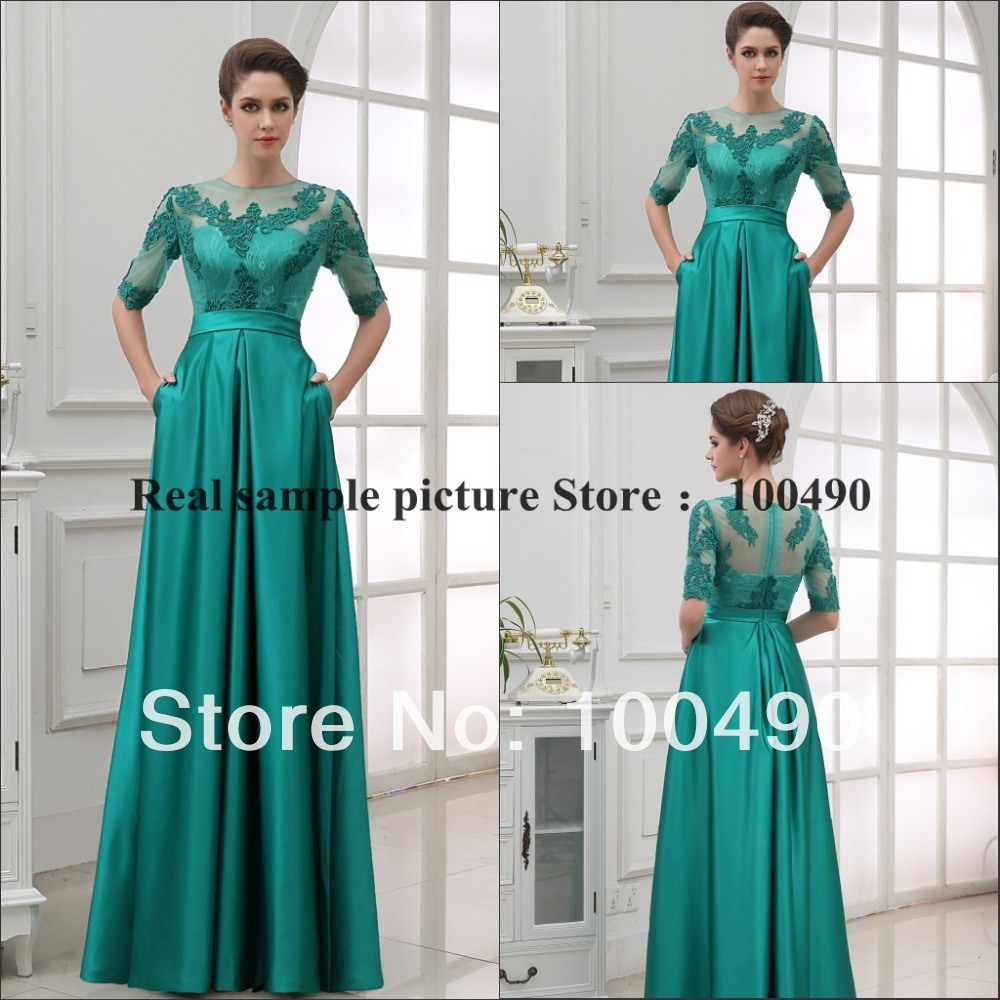 Jade green half sleeve high neck arabic maxi groom gown with pockets ...