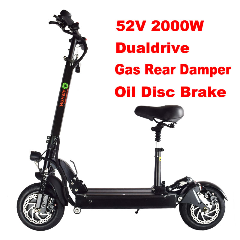 52V Double Drive COOL model 2000W motor powerful electric scooter electic bicycle bike skateboard with seat peak performance heli liner
