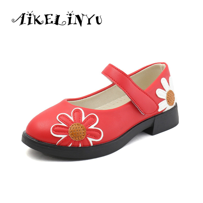 Girl Princess Shoes 2019 Autumn Fashion Children Flower Leather Shoes Girl Red Round Head Single Shoe Kids Black School Shoes