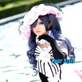 Japanese Black Butler Ciel Phantomhive Wig Synthetic Long Wavy Blue Grey Cosplay Wig Perruque Longa