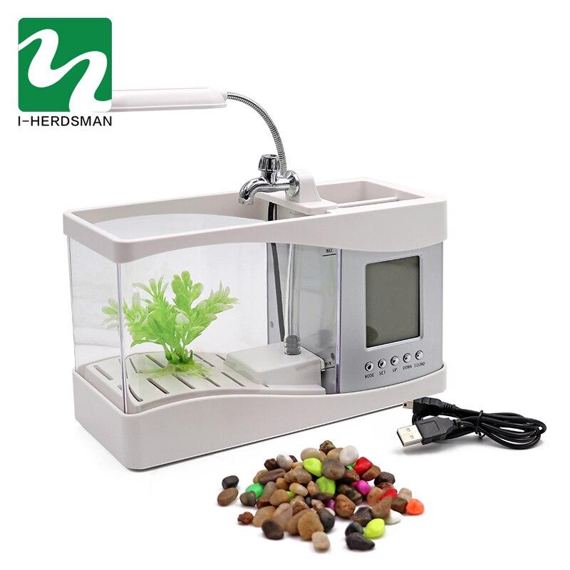 Aquarium USB Mini Aquarium Aquarium Aquarium avec lumière de lampe à LED écran d'affichage LCD et horloge Aquarium Aquarium noir/blanc - 4