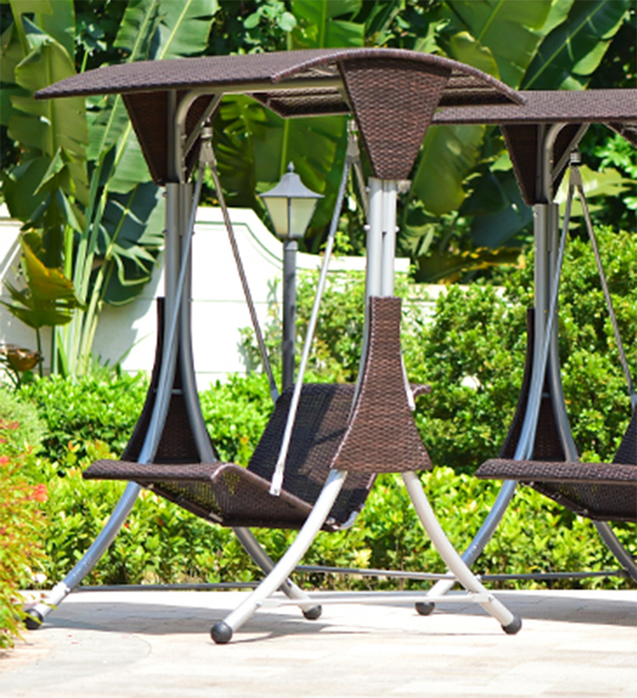 Single person high quality wicker garden leisure swing chair outdoor hammock patio leisure cover seat bench with cushion