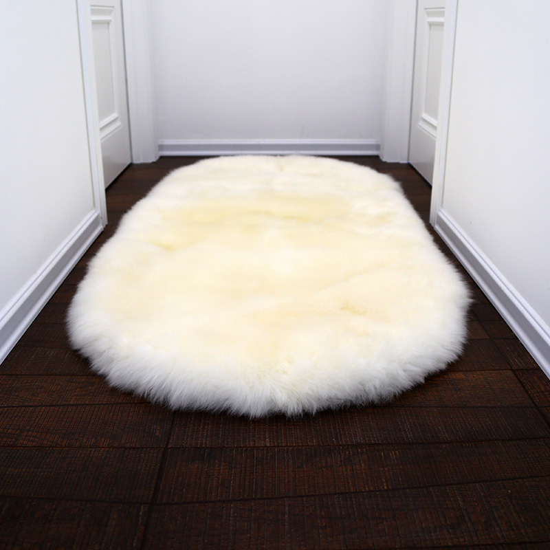 AOZUN round premium australian sheepskin rug tailored size fur carpet for cloak room white step door