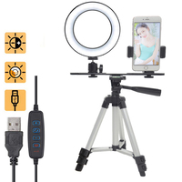 Phone Photography Ring Fill Light Lamp 16cm LED Beauty Dimmable Tripod Stand Bracket Kit for Photo studio Video Selfie Live Show