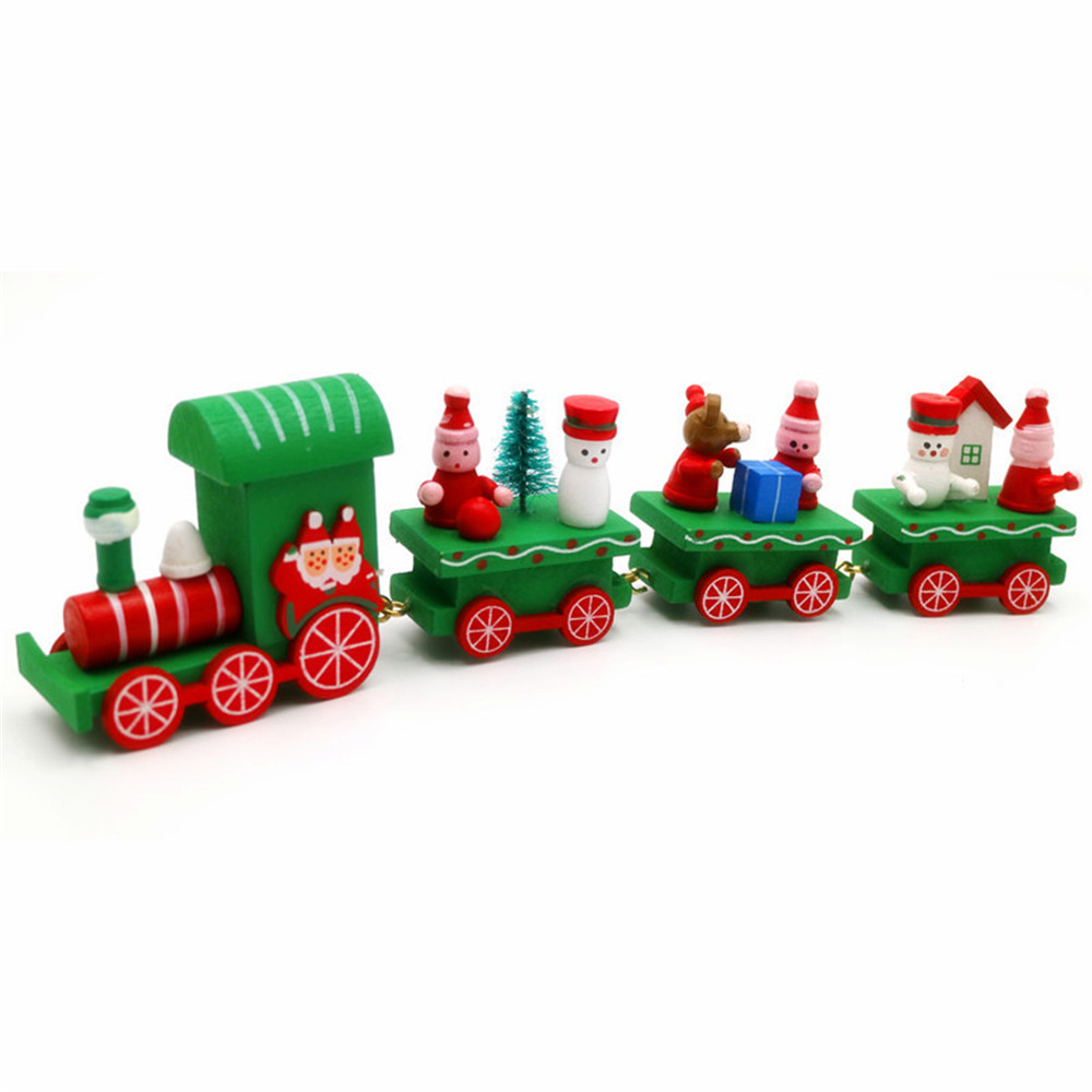 2018 Wooden 4Piece Cute Christmas Santa Tree Train Tree Toy Snow Man ...