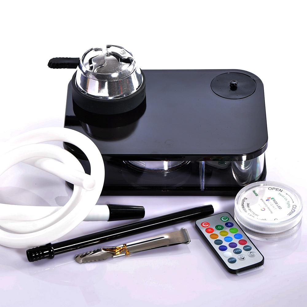 Acrylic Shisha Hookah set With LED Light Chicha Bowl Hose Charcoal Holder Metal Tongs Cachimbas Sisha Narguile Pipes Accessories