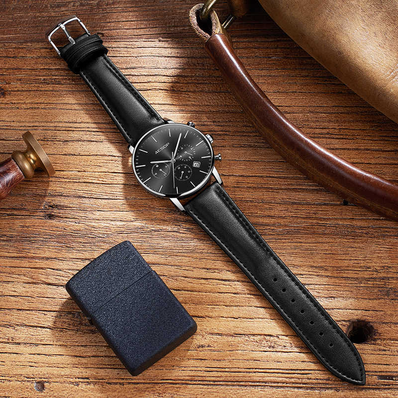 イソップ黒スポーツ腕時計メンズクォーツ腕時計レザーバンド男性時計腕時計耐衝撃防水レロジオ Masculino Hodinky