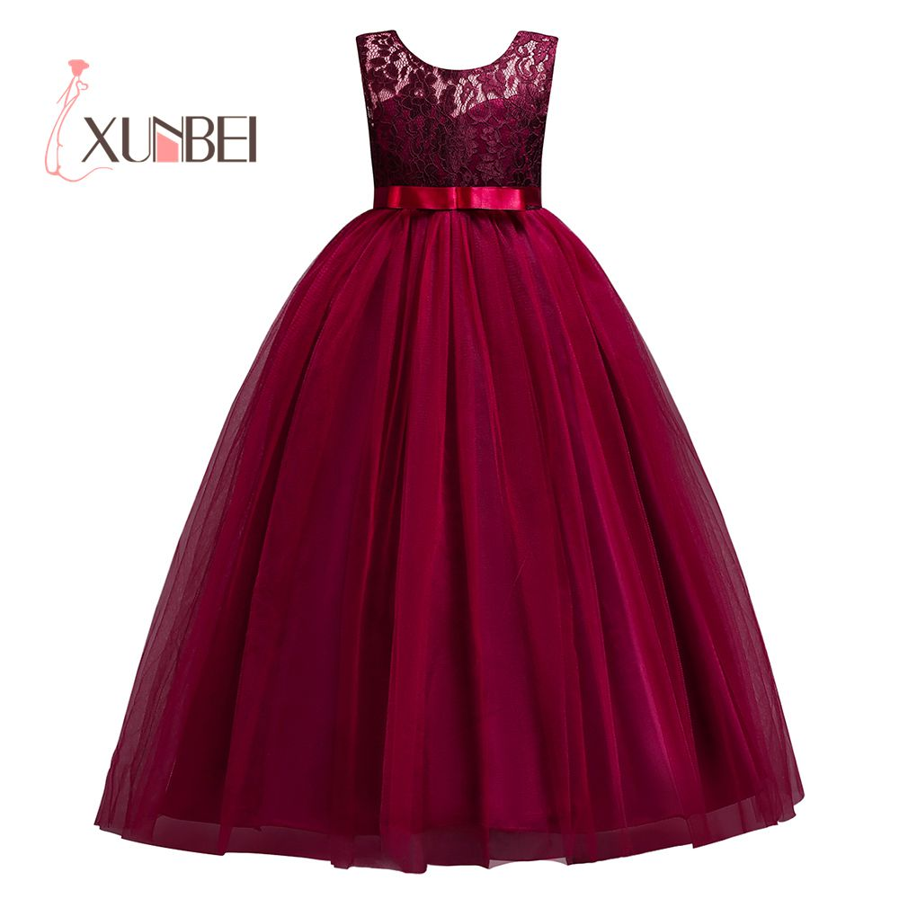 Princess Pink Lace Flower Girl Dresses 2018 Tulle Girls Pageant ...