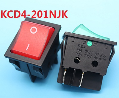 KCD4 201NJK red green AC swicths 4 pin 2 position on off electrical rocker switch for electronic equipment 16A 20A AC