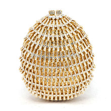 Heart pattern GOLD Diamonds women evening bags small purse clutch handbags rhinestones evening bags for wedding