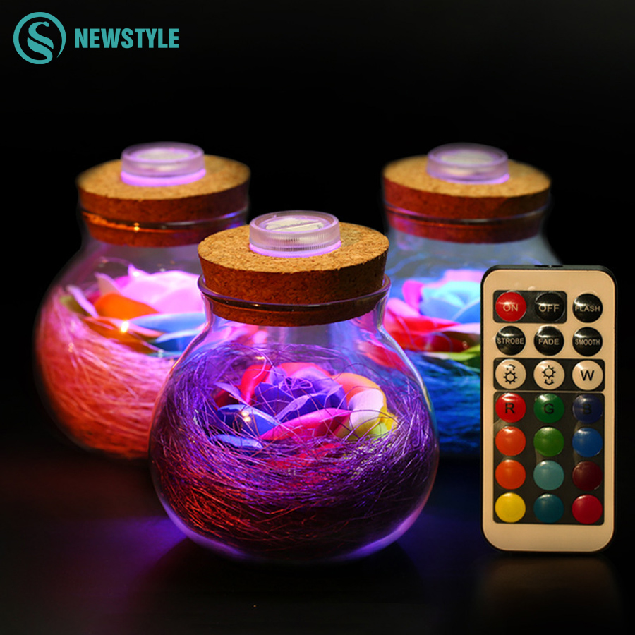 LED RGB Dimmer Lamp Night Light Flower Bottle Creative Romantic Rose Bulb Great Holiday Gift For Girl 16 Colors agm rgb led bulb lamp night light 3w 10w e27 luminaria dimmer 16 colors changeable 24 keys remote for home holiday decoration