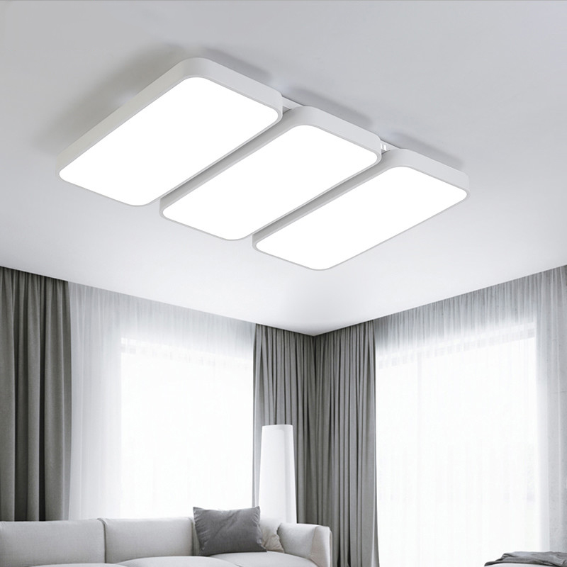 цены White Black LED ceiling chandelier with remote control living room Ceiling for the hall modern ceiling lamp square led lamp
