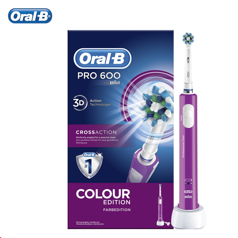 Oral B PRO 600 CrossAction hygiène dentaire puissance brosses à dents électriques adulte brosse à dents électrique sonique Rechargeable santé des dents