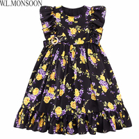 W L MONSOON Girls Summer Dress Toddler Clothes 2017 Brand Vestiodo Children Costume Princess Dress Floral