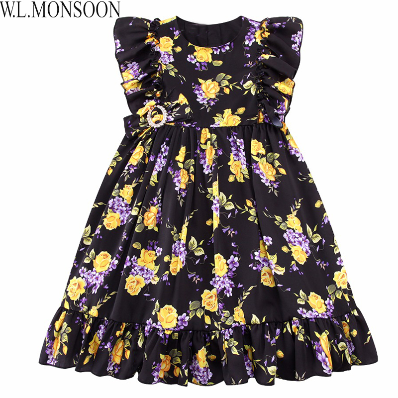 W.L.MONSOON Girls Summer Dress Toddler Clothes 2017 Brand Vestiodo Children Costume Princess Dress Floral Kids Dresses for Girls