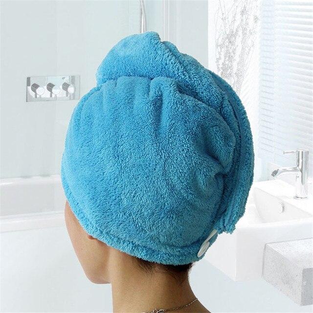 Toalla turbante para el pelo de microfibra en color azul