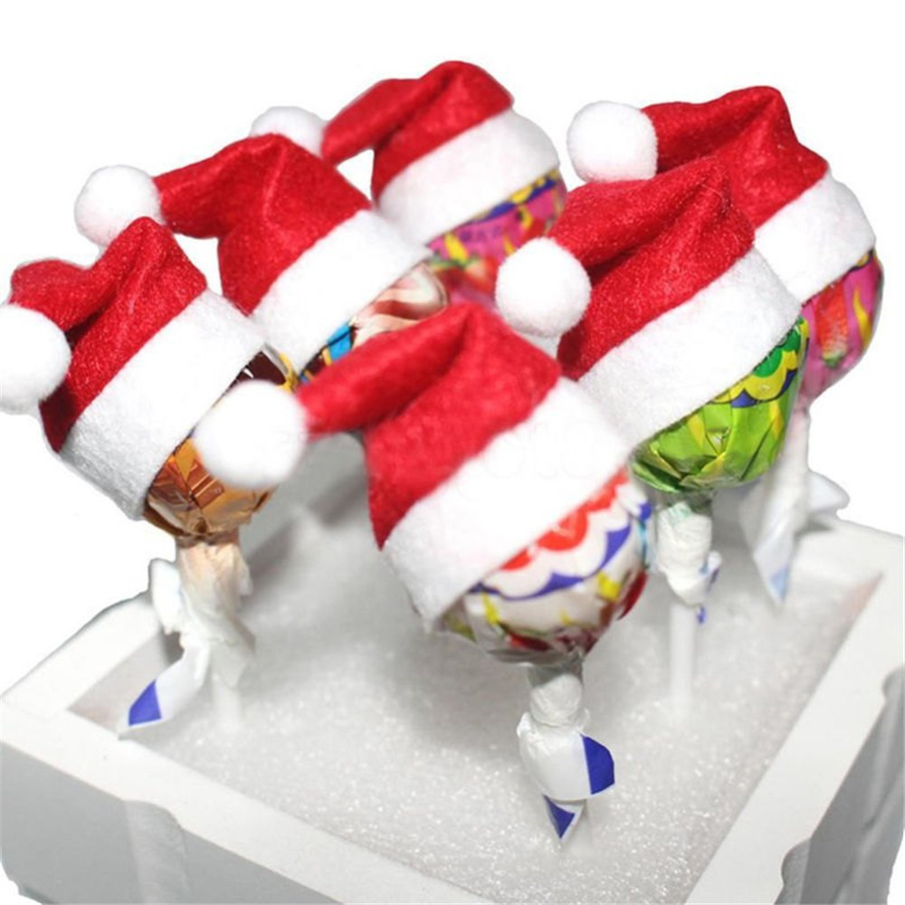 Lollipop Christmas Decorations.Us 1 2 33 Off 12pcs Set Mini Santa Claus Hat Lollipop Cover Christmas Decorations Tops Wrap Hats For Lollipops Xmas Decor For Kids New 2017 In