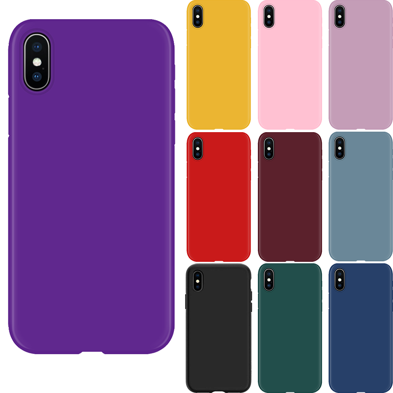 Colorful Matte Soft Coque For iPhone 6 6s 7 8 Plus X XR XS Max Red Pink Cover For iPhone 8plus Silicone Clear Case For iPhone 7