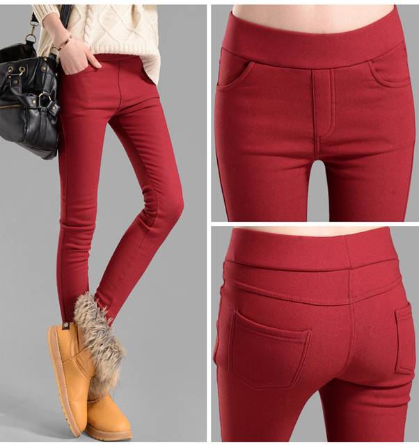 Mujer pantalones capris más los pantalones tamaño lápiz fleece cálido casual pantalones femeninos elásticos pantalones de Otoño Invierno de terciopelo grueso leggings